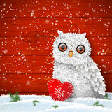 Cute white owl sitting in snow in front of red wooden wall, winter holiday theme, illustration Royalty Free Stock Image