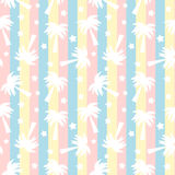 Cute white palm trees silhouette on colorful stripes seamless pattern background illustration Stock Photography