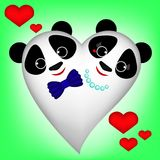 Cute white Panda-Heart on green background, boy and girl. The illustration can be used as a postcard, sticker, decoration, greeting card for wedding,  valentine` Stock Photos