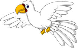 Cute white parrot cartoon flying Stock Images