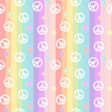 Cute white peace symbol with daisy flowers on rainbow colorful stripes seamless pattern background illustration Stock Photos