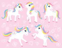 Cute White Pony or Horse Vector Set royalty free illustration