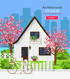 Cute white private house with sakura trees. vector illustration