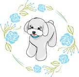 Cute white puppy in a frame with blue roses. Illustration royalty free illustration
