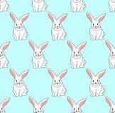 Cute White Rabbit on Blue Mint Background. Vector Illustration. Cute White Rabbit on Blue Mint Background. Vector Illustration Royalty Free Stock Image