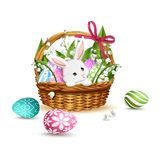 Cute white rabbit in Easter basket with eggs. Vector. Cute white rabbit in Easter basket with eggs and Lilly of the Valley flowers. Vector illustration isolated stock illustration