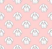 Cute White Rabbit on Light Pink Background. Vector Illustration.  Stock Photo