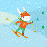Cute white rabbit skiing Royalty Free Stock Photos