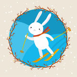 Cute white rabbit skiing Royalty Free Stock Photography