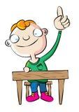 Cute white school boy raise hand in class. Illustration Stock Photos