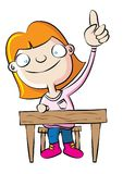 Cute white school girl raise hand in class. Vector illustration Stock Image