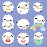 Cute White Sheep Vector Set. Vector illustration of cute white sheep with heart, star, and rainbow Royalty Free Stock Photo