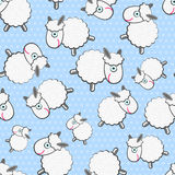 Cute White Sheeps Seamless Pattern Stock Images