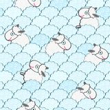 Cute White Sheeps Seamless Pattern Royalty Free Stock Images