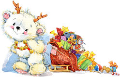 Cute white teddy bear Christmas and New Year background. watercolor illustration Stock Images