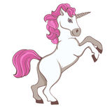 Cute white unicorn with pink tail and mane. On white background Royalty Free Stock Photo