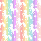 Cute White Unicorns Silhouette On Rainbow Colorful Stripes Seamless Pattern Background Illustration Stock Photography