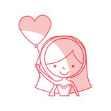 Cute wife with shaped heart pumps avatar character. Vector illustration design Royalty Free Stock Photos