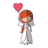 Cute wife with shaped heart pumps avatar character Stock Photo