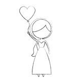 Cute wife with shaped heart pumps avatar character. Vector illustration design Stock Image
