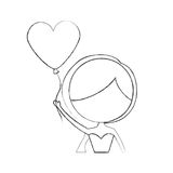 Cute wife with shaped heart pumps avatar character. Vector illustration design Stock Photo