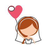 Cute wife with shaped heart pumps avatar character. Vector illustration design Stock Photography
