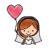 Cute wife with shaped heart pumps avatar character. Vector illustration design Stock Images