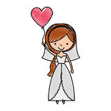 Cute wife with shaped heart pumps avatar character. Vector illustration design Royalty Free Stock Photo