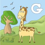 Funny giraffe at the zoo. Cute animal alphabet for ABC book. Vector illustration of cartoon animals. Giraffe for F royalty free illustration