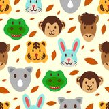 Cute wild animal seamless pattern. Vector background Royalty Free Stock Photos