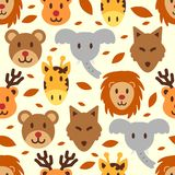 Cute wild animal seamless pattern. Vector background Royalty Free Stock Images