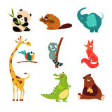Cute Wild Animal Set of Vector Illustration Stock Images