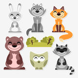 Cute wild animals set Royalty Free Stock Photo
