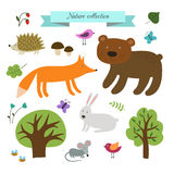 Cute wild animals set. Stock Images