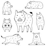 Cute wild boar doodle drawing set. For Asian new year card designs etc royalty free illustration