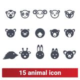 Cute Wild And Domestic Animal And Bird Head Icons stock illustration
