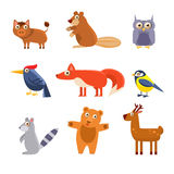 Cute Wild Forest Animals. Vector Illustration Stock Images