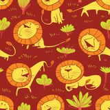 Cute wild lions background. Seamless pattern with doodle leo characters. Sketchy style vector illustration. For childish objects, t-shirts, textile. African royalty free illustration