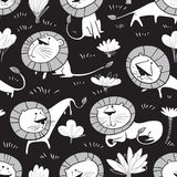 Cute wild lions background. Seamless pattern with doodle leo characters. Sketchy style vector illustration royalty free stock photography