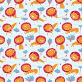 Cute wild lions background. Seamless pattern with doodle leo characters. Sketchy style vector illustration stock image
