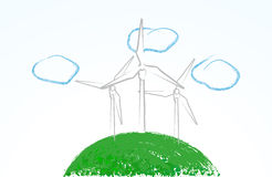 Cute wind turbines Royalty Free Stock Photography