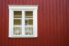 Cute Window of Wooden House. Wooden Housing in Rauma, Finland - UNESCO World Heritage site Royalty Free Stock Photography