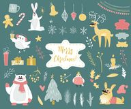 Cute winter animals set Royalty Free Stock Photography