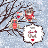 Cute winter background with owls and hearts. Vector illustration Stock Photo