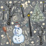 Cute Winter Background with Snowman Character Royalty Free Stock Image