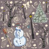 Cute Winter Background with Snowman Character, Street Lantern an Stock Photo