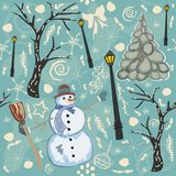 Cute Winter Background with Snowman Character, Street Lantern an Royalty Free Stock Photos