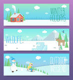 Cute winter banners. Outdoor weekend holidays wildlife.Horizonta Stock Images