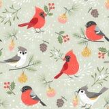 Cute Winter Bird Christmas Pattern stock illustration