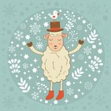 Cute winter card with sheep and bird. Vector illustration Royalty Free Stock Photography
